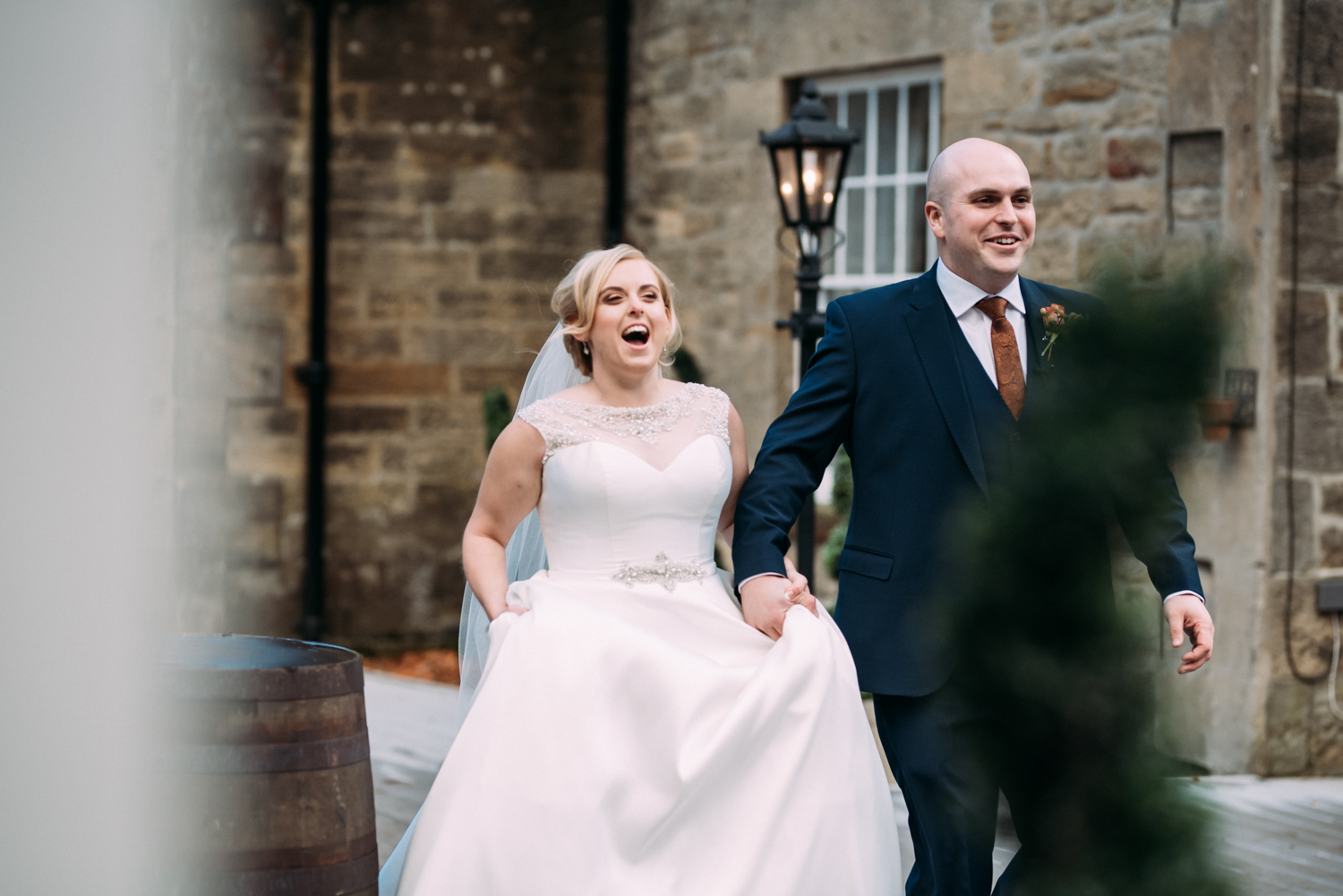 bride and groom walking to reception at Shotton Grange Wedding