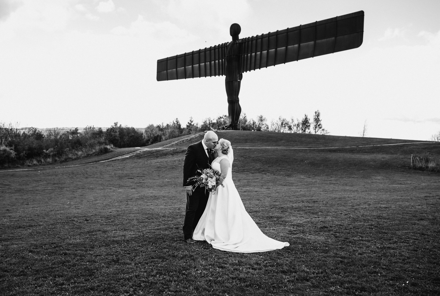 Bride and groom at angel of the north