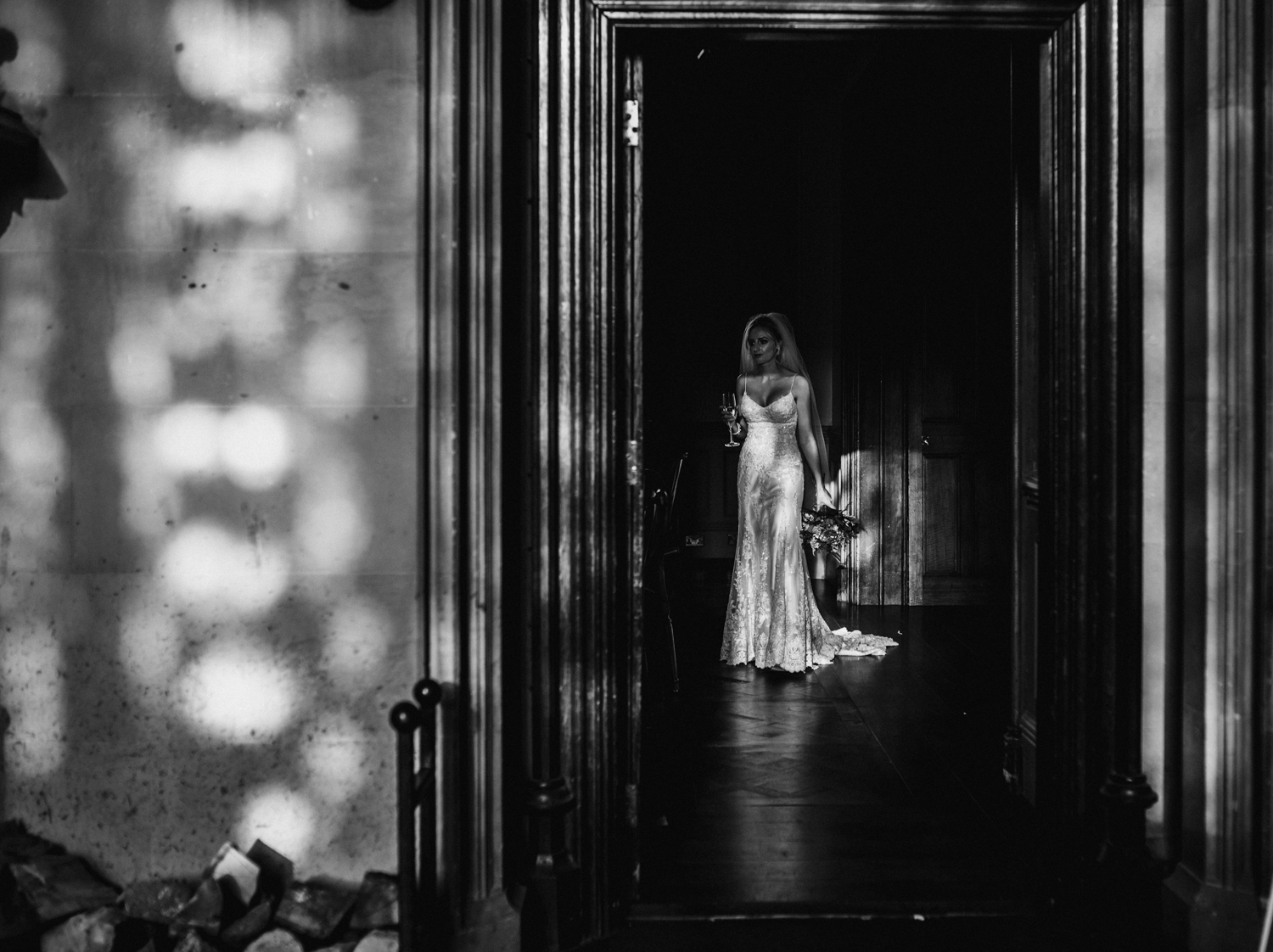 bride in doorway at wedding at maften hall northumberland