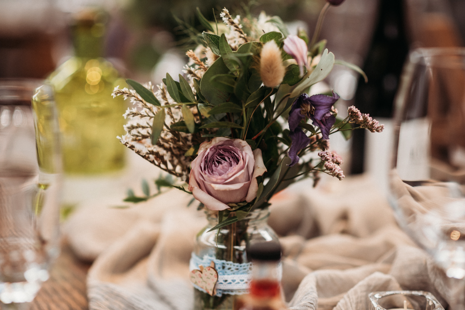 table centre pieces at wylam brewery wedding
