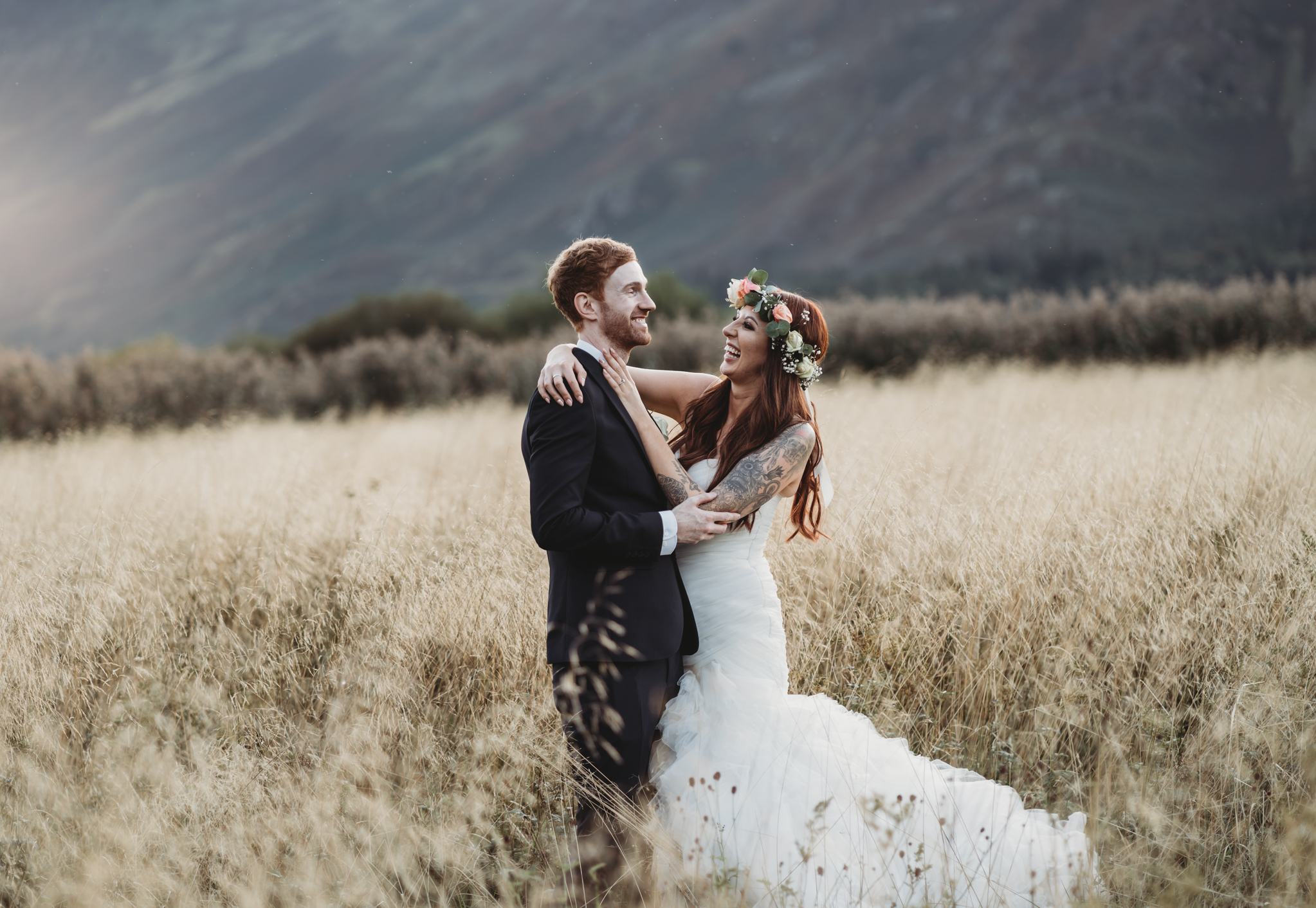 bride and groom laughing Lodore Falls Wedding