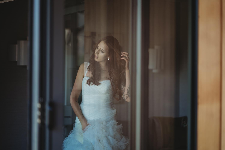 bride getting ready at Lodore Falls Wedding