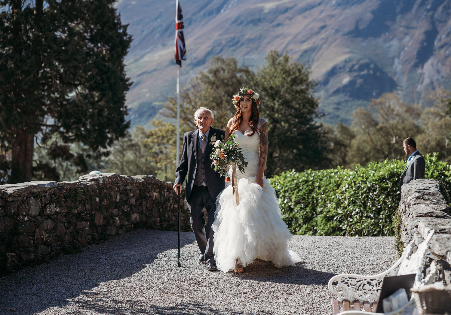 grandfather walks bride down the aise at Lodore Falls Wedding